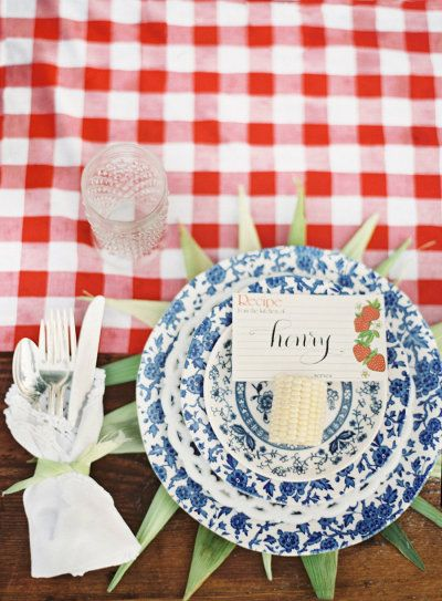 #BBQ inspired wedding table settings