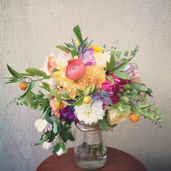 kumquat, maiden fern, dahlia, ranunculus
