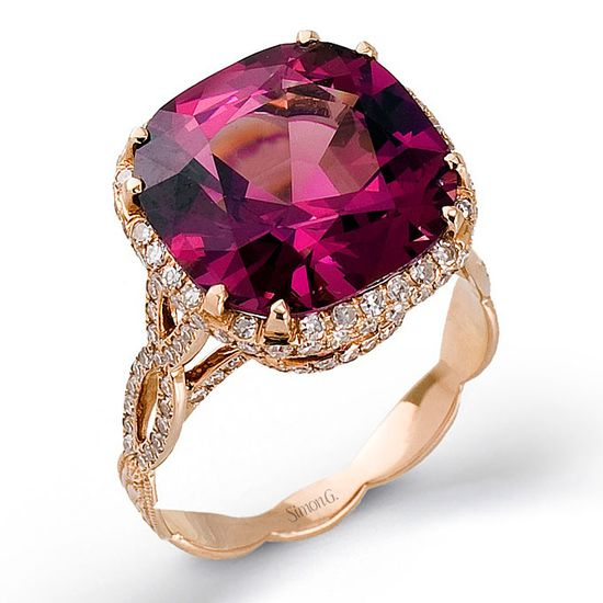 18k rose gold diamond engagement ring with spinel center stone, Style SPEC, Simon G