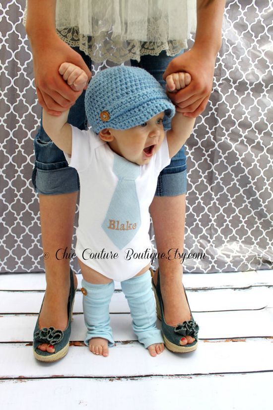 NEW Baby Boy Fall Baby Blue Herringbone by ChicCoutureBoutique