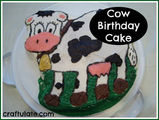 Cow Birthday Cake and other cow theme party ideas