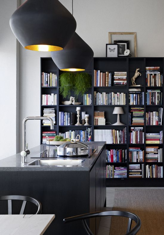 Books in the kitchen.