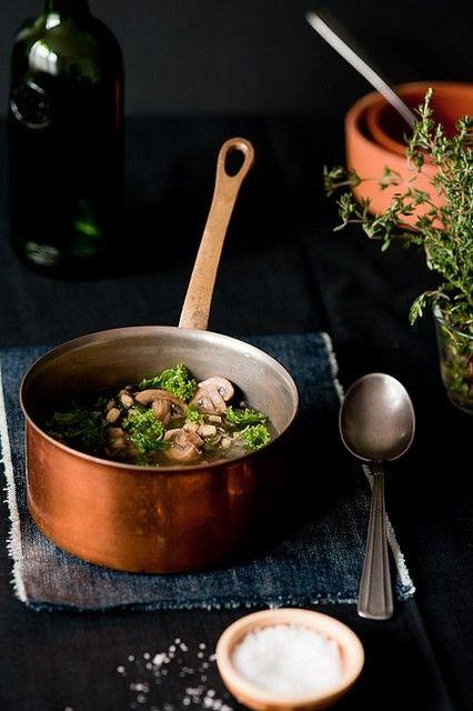Like a bowl full of good health: Mushroom and Kale Soup. #food #vegetarian #food #mushroom #kale #vegetables