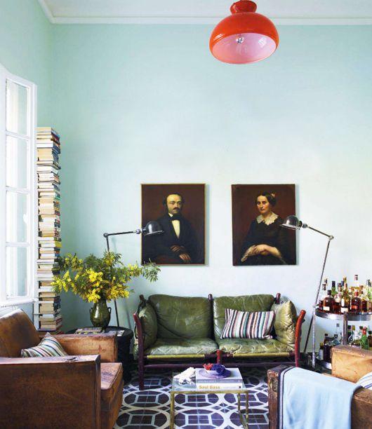 pale blue walls / elle decor - dressing room/lounge/office