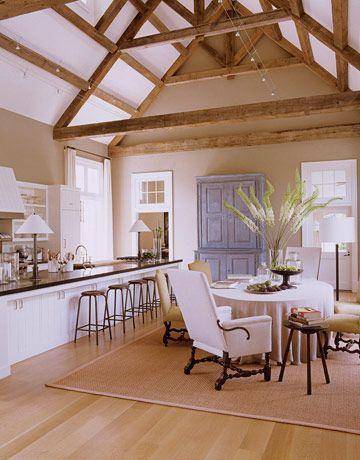 Ina Garten's Barn Kitchen >> LOVE the ceiling!