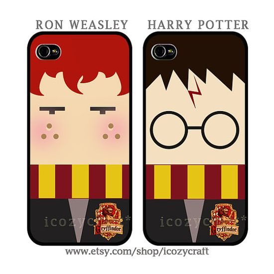 best friend iphone case,Harry Potter iphone case, Ron Weasley iphone 4 4s 5 case,harry potter galaxy s3 case, best friend gift SET of 2- 108 on Etsy, $30.00