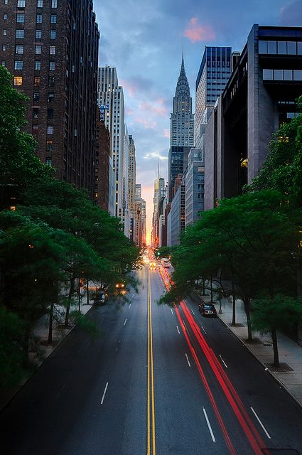 nyc sunrise street view