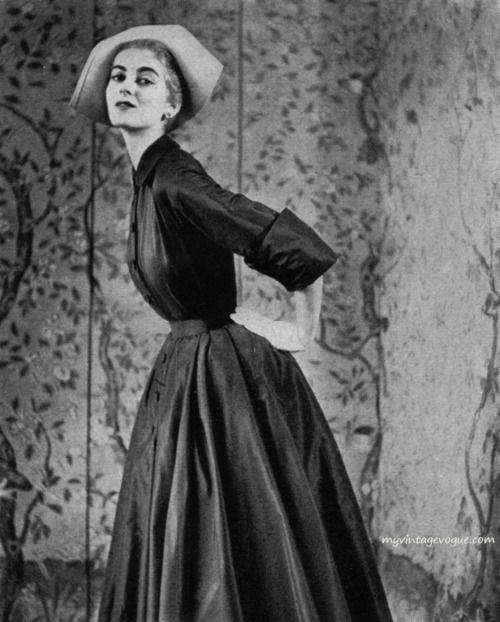 Harper's Bazaar March 1950 - Photo by Evelyn Hofer    Carmen Dell' Orefice wearing a dress by Paul Parnes