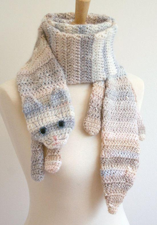 PDF Crochet Pattern for Calico Cat Scarf - Animal Pet Warm DIY Fashion Tutorial Winter Fall Autumn