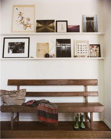 bench, shelves
