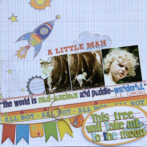 To the Moon - Scrapbook.com - What a fun layout! #scrapbooking #layout #fancypantsdesigns
