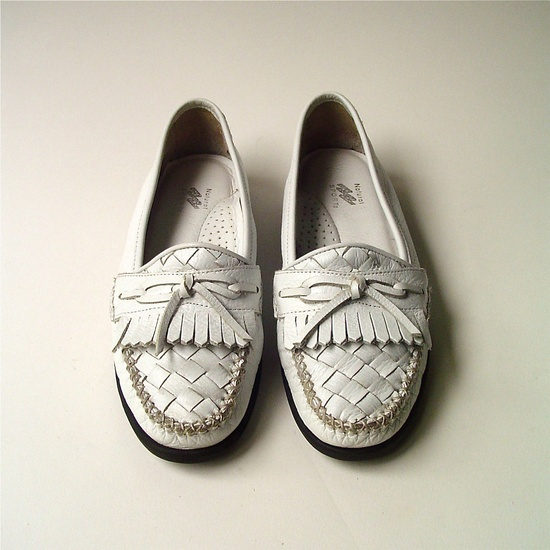 vintage Woven White Leather Moccasins