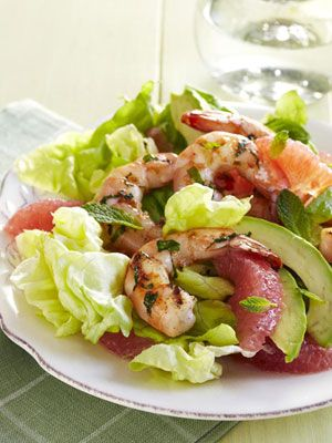 Fresh and light, a salad of tart grapefruit, creamy avocado, and spicy grilled shrimp makes a satisfying meal on a hot day. #salad #saladrecipe