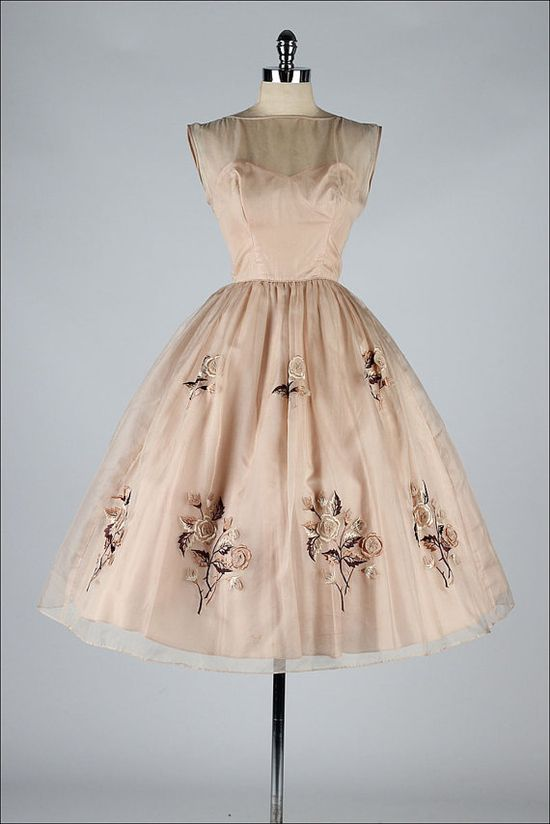 ~1950s Mocha Organza Embroidered Dress~