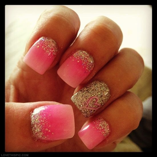 Ombre Nails nails pink glitter pretty nail art ombre nails ombre