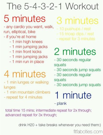 The 5 4 3 2 1 workout