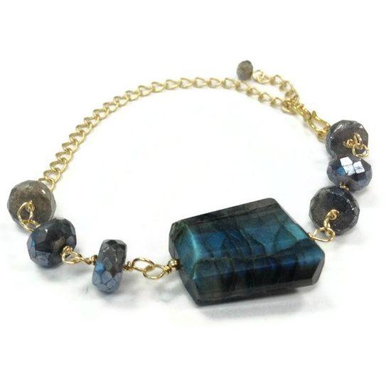 Gray Bracelet Gold Jewelry Labradorite Gemstone by jewelrybycarmal, $52.00
