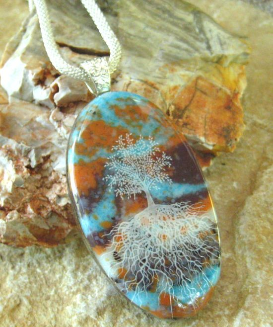 Oval Fused Glass Pendant Tree of Life Fused Glass by GlassCat, $28.00