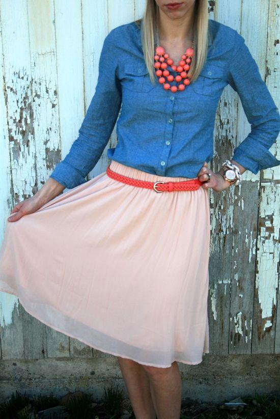 chambray shirt & belted chiffon skirt