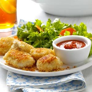 Parmesan Chicken Nuggets Recipe from Taste of Home -- shared by Amanda Livesay of Mobile, Alabama :: pinterest.com/...