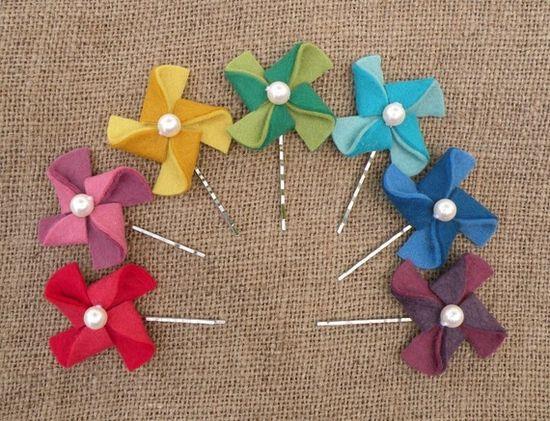 Felt pinwheel hair accessories
