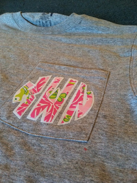 Lilly Pulitzer Inspired Monogram Pocket Tshirt. $20.00, via Etsy.