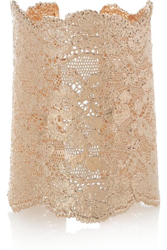 18-karat rose gold-dipped lace cuff