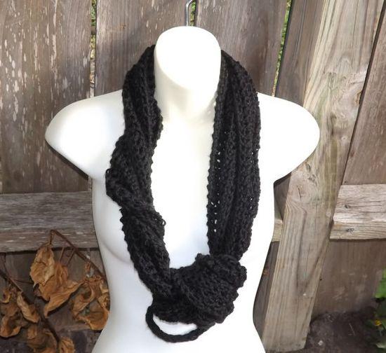 Ultimate versatile crochet knot scarf - long necklace, bandana, short tie scarf, etc.