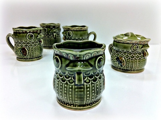 Vintage Owl Pottery Mugs and Dish in Retro Green