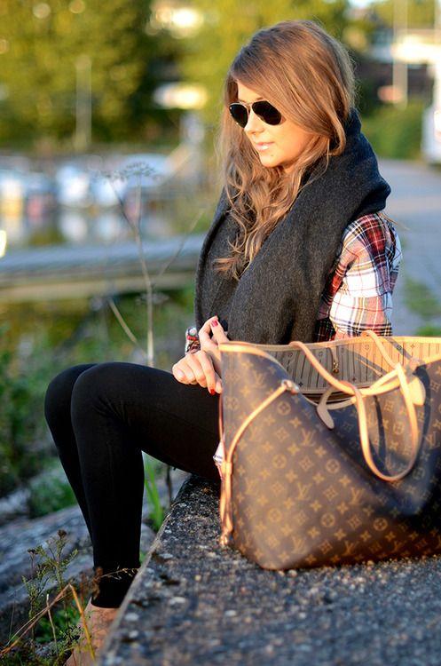 Leggings, plaid shirt & oversize infinity scarf.