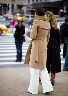 Camel coat + white trousers