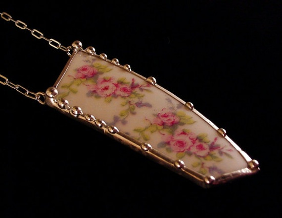 Broken china jewelry necklace antique French porcelain china with plate pink roses