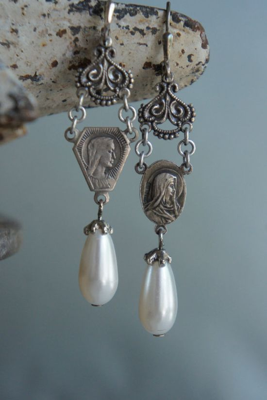 Vintage assemblage earrings rosary centers pearl drops silver filigree assemblage jewelry -  by French Feather Designs.