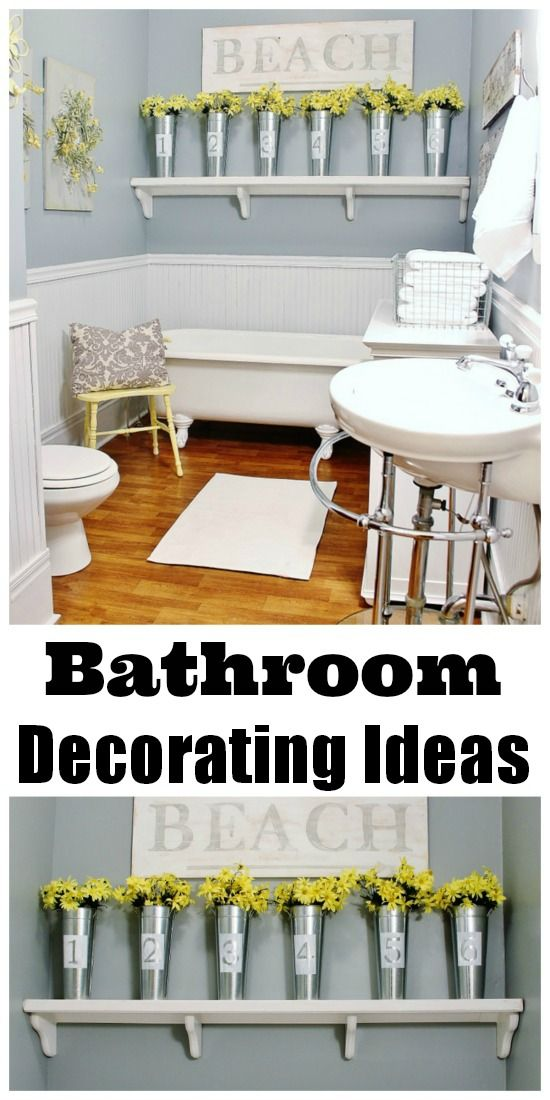 Fun decorating ideas for a simple bathroom update!  Add painted tins, wreaths and pops of yellow for an easy bathroom transformation! thistlewoodfarms.com