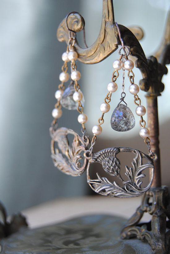 """Vintage Assemblage Gemstone Rosary Sterling Chandelier EARRINGS--""""VINTAGE THISTLES"""""""