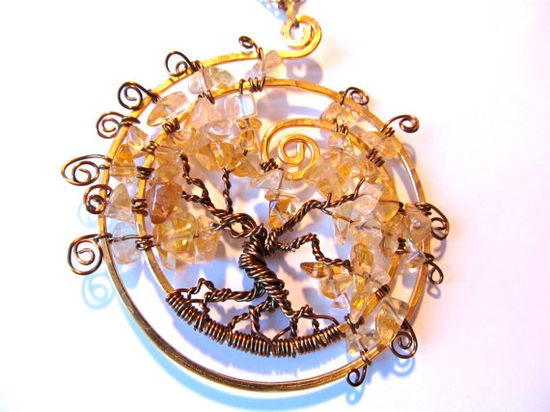 ? Inspiration ? ???  Tree of Life.  Citrine Tree of Life Necklace,  Excellent Quality Citrine Stones, Bronze and Gold wire on an adjustable chain. $35.00, via Etsy.