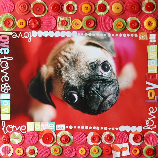 Buttons Scrapbook Layout