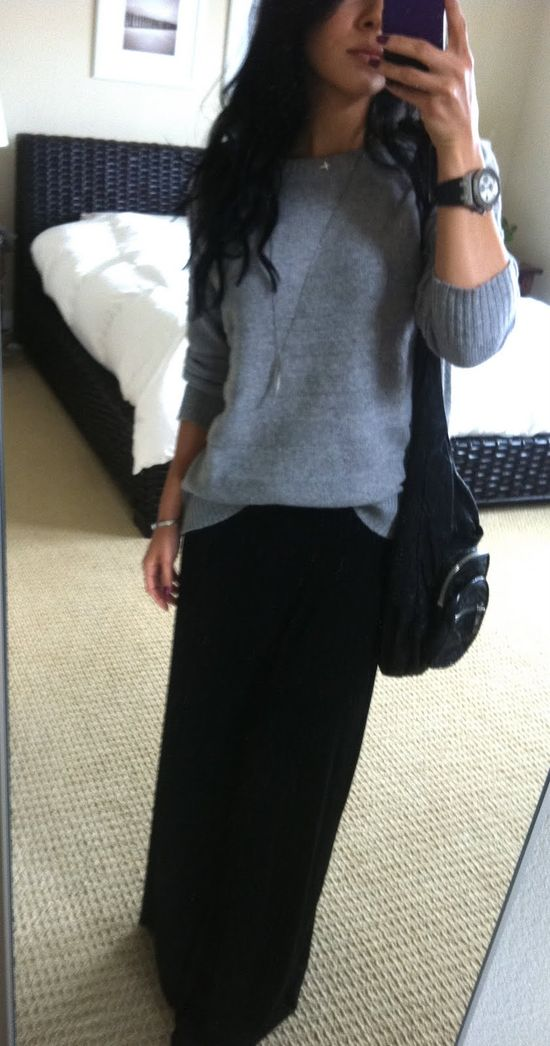 Sweater & maxi skirt for winter