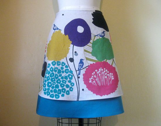 Bird and Blossom layered aline skirt