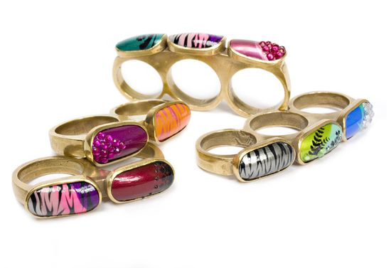 Islay Taylor, Knuckle Dusters, Rings, gold plated bronze, hand painted acrylic nails, 2010. I am obsessed with knuckle duster inspired rings. I need one immediately.