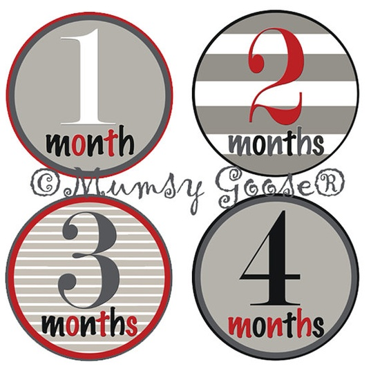 Baby Boy Onesie Stickers Baby Months Stickers Boy by MumsyGoose, $9.50