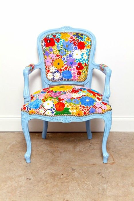 blue and floral patterned chair
