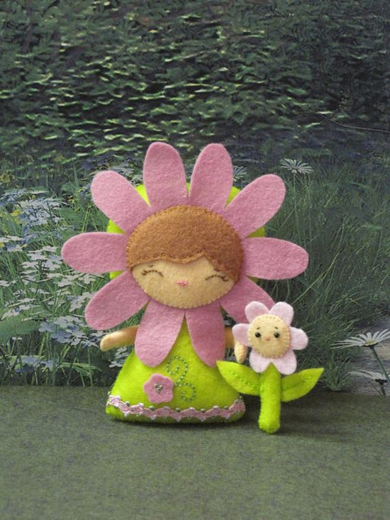 Pink Flower Girl with Flower Friend by cuttingedgecreations, $15.00