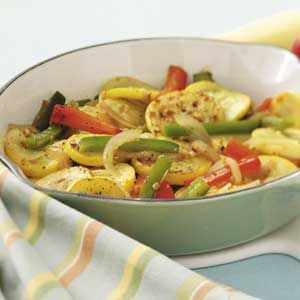 Yellow Squash and Peppers    What a great way to eat yellow squash, the red peppers, and the onion!!  Great Basket Recipe!