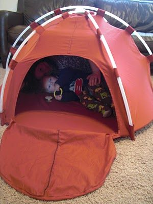 This adorable kid-size dome tent was made from hula hoops and bed sheets.  The whole project cost less than $10