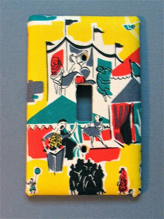 Light switch cover decoupaged with retro circus by Switcherooo, $10.00