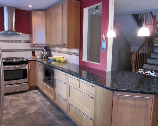 Kitchen +red Birch Cabinets +porcelain Tile Floor Design, Pictures, Remodel, Decor and Ideas - page 6