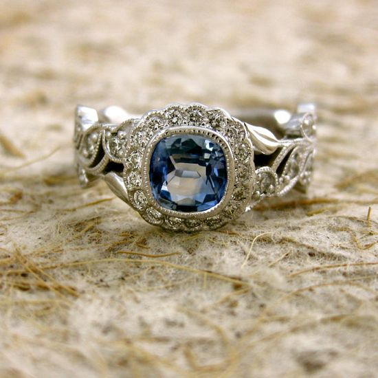 Blue Sapphire Diamond Leaf Ring - I am always looking for unique and antique rings. this is beautiful!