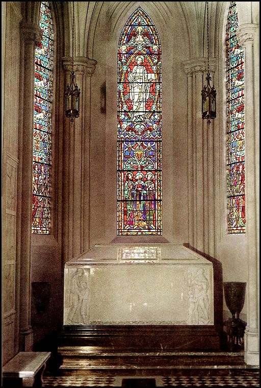 THE GRAVE OF MICHAEL JACKSON  (photo of the sarcophagus is circa 1950) in the Holly Terrace section of the Great Mausoleum at Forest Lawn in Glendale, California -- But as of June 2012, his crypt is still unmarked