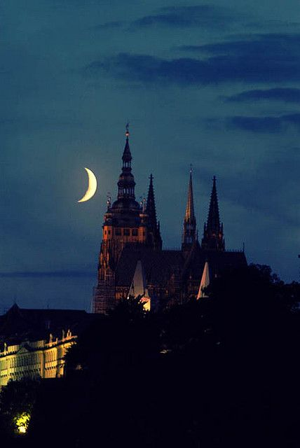 Crescent moon over Prague Castle,  Czech Republic